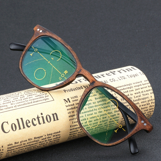 4876dc0e2d5cc SCOBER   Retro Faux wood grain frame Intelligence Progressive Multifocal  Commercial Reading Glasses Bifocal +1 +1.25 TO +3