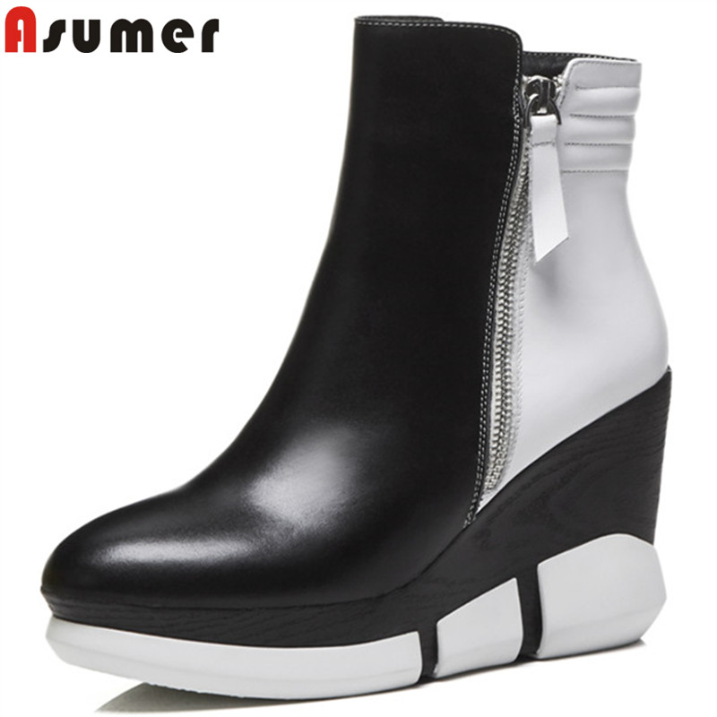 ASUMER fashion autumn winter boots women round toe zip genuine leather boots wedges platform shoes mixed colors ankle boots asumer black fashion 2018 autumn winter boots women round toe zip mixed colors ankle boots flat with suede leather boots