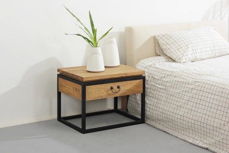 Loft amerikaanse landelijke stijl houten slaapkamer nachtkastje