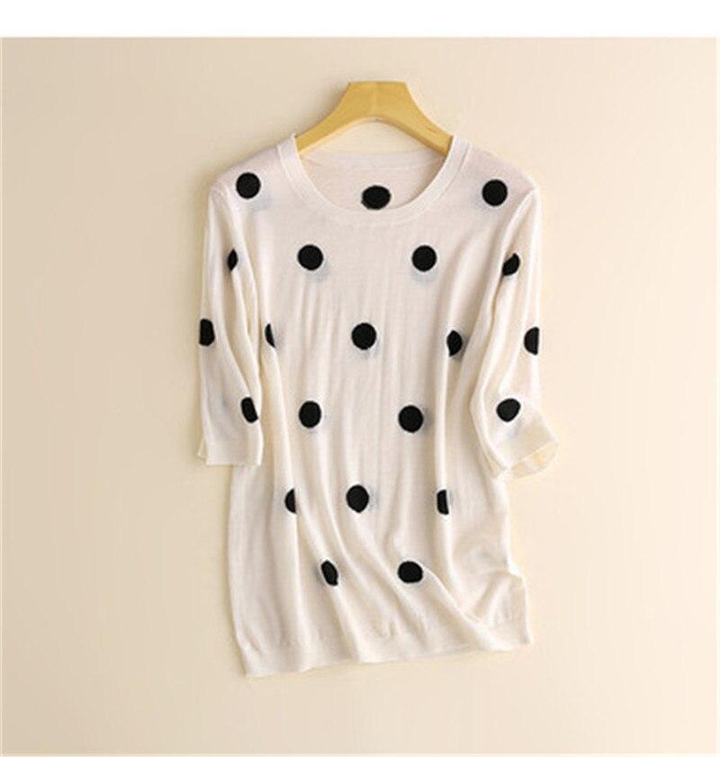 Nouveauté soie o-cou mince tricot femmes mode doux mignon dot t-shirt t-shirts demi manches blanc 4 couleur M/L