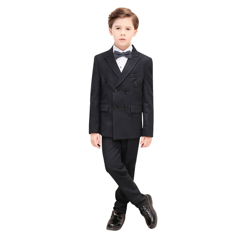 Boy Formal Dress suit Sets Children Striped Double Breasted Blazer Pants Outfits Kids Wedding Party Prom Costume
