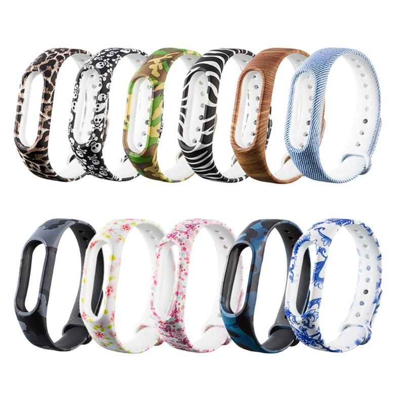 New Colorful Replacement Silicone 220mm Pattern Wriststrap Band for Xiaomi Miband 2 silicone wrist strap smartband Accessories jansin 22mm watchband for garmin fenix 5 easy fit silicone replacement band sports silicone wristband for forerunner 935 gps