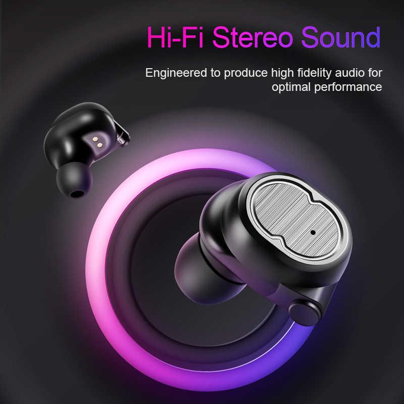 SANLEPUS Mini podwójny V5.0 bezprzewodowe słuchawki Bluetooth słuchawki 3D dźwięk Stereo słuchawki douszne z podwójny mikrofon i okno ładowania