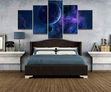 5 Piece HD Print Large Outer Space Planet Picture Painting Canvas Wall Art Home Decoration Living Room