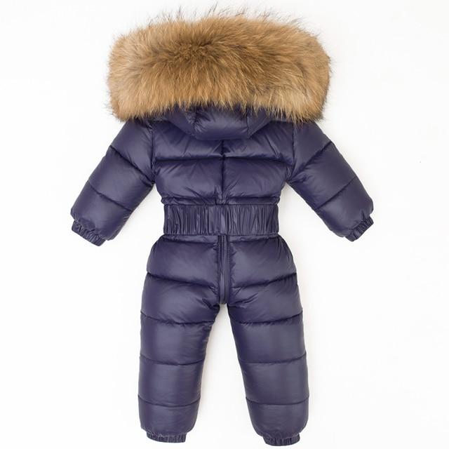 872ca9759 Newborn Winter Large Fur Hood Romper Baby Snowsuit Infant Overcoat ...