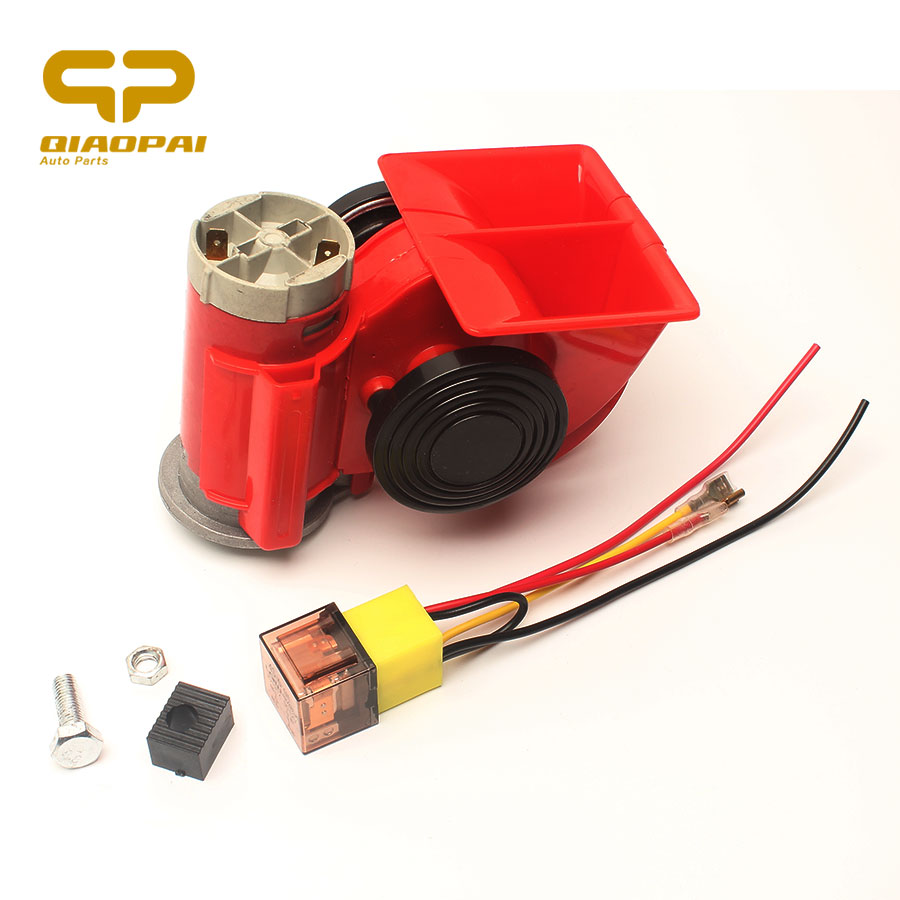 12V/24V Universal Motorcycle Car Air Compressor Loud Whistle Voice Air Horn Truck Single Train Relay Socket 150db Red Air Horn