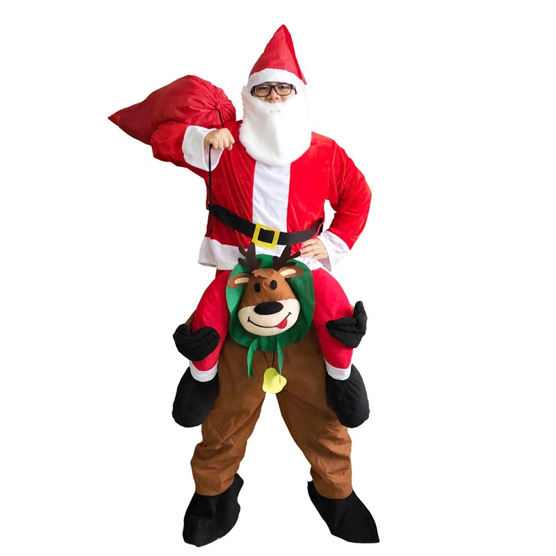 Shoulder Santa Claus Ride on Reindeer Mascot Halloween Costume Adult Fancy Dress Up Oktoberfest Party Olaf Halloween Costume