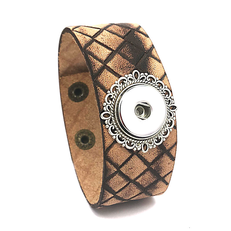 Punk 159 hand woven Genuine Leather Retro fashion charm Bracelet bangle Snap Button Jewelry For Women men (fit 18mm button)