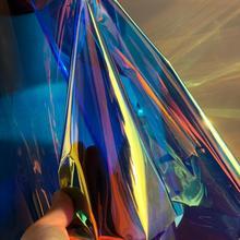 0.15mm Blue transparent PVC mirror phantom laser TPU garment bag waterproof  fabrci dress diy textiles patch wedding fabric C574