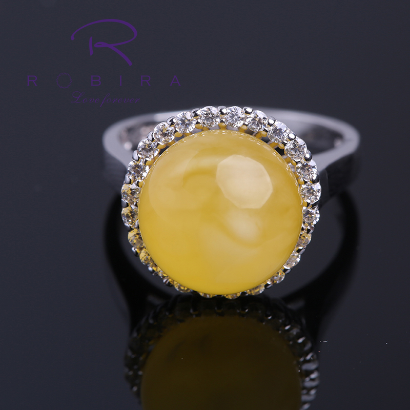 Robira Classic Engagement Wedding Natural Amber Rings For