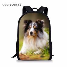 ELVISWORDS Kids Backpacks Sheltland Sheepdog Prints Childrens School Bag Toddler Schoolbags kawaii Animal Women Travel Backpack