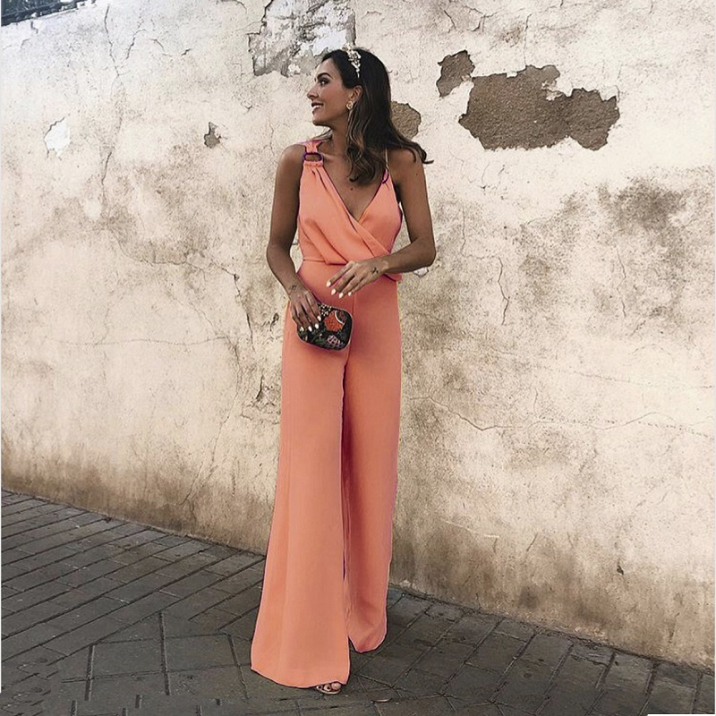 Women Sexy Deep V Neck Wrap Plunge Sleeveless Elegant Wide Leg Pants Long Jumpsuits Overalls Rompers