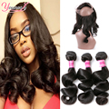 360 Lace Frontal With Bundles Loose Wave 3 Bundles Indian Virgin Hair With Frontal Closure 360 Lace Frontal Closure With Bundles