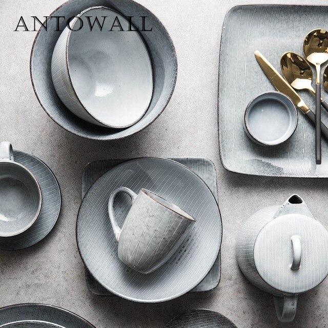 ANTOWALL винтажная полосатая керамическая посуда тарелка чаша индивидуальная линия для домашнего использования миска для супа рисовая тарелка кружка Столовые сервизы      АлиЭкспресс