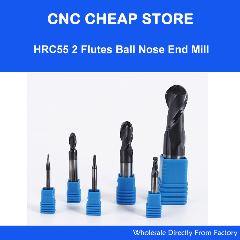 1PC HRC55 High Aluminum TiAIN Coating End Mill 2 Flutes Tungsten Steel Router Bits R Knife Arc Groove CNC Milling Cutter