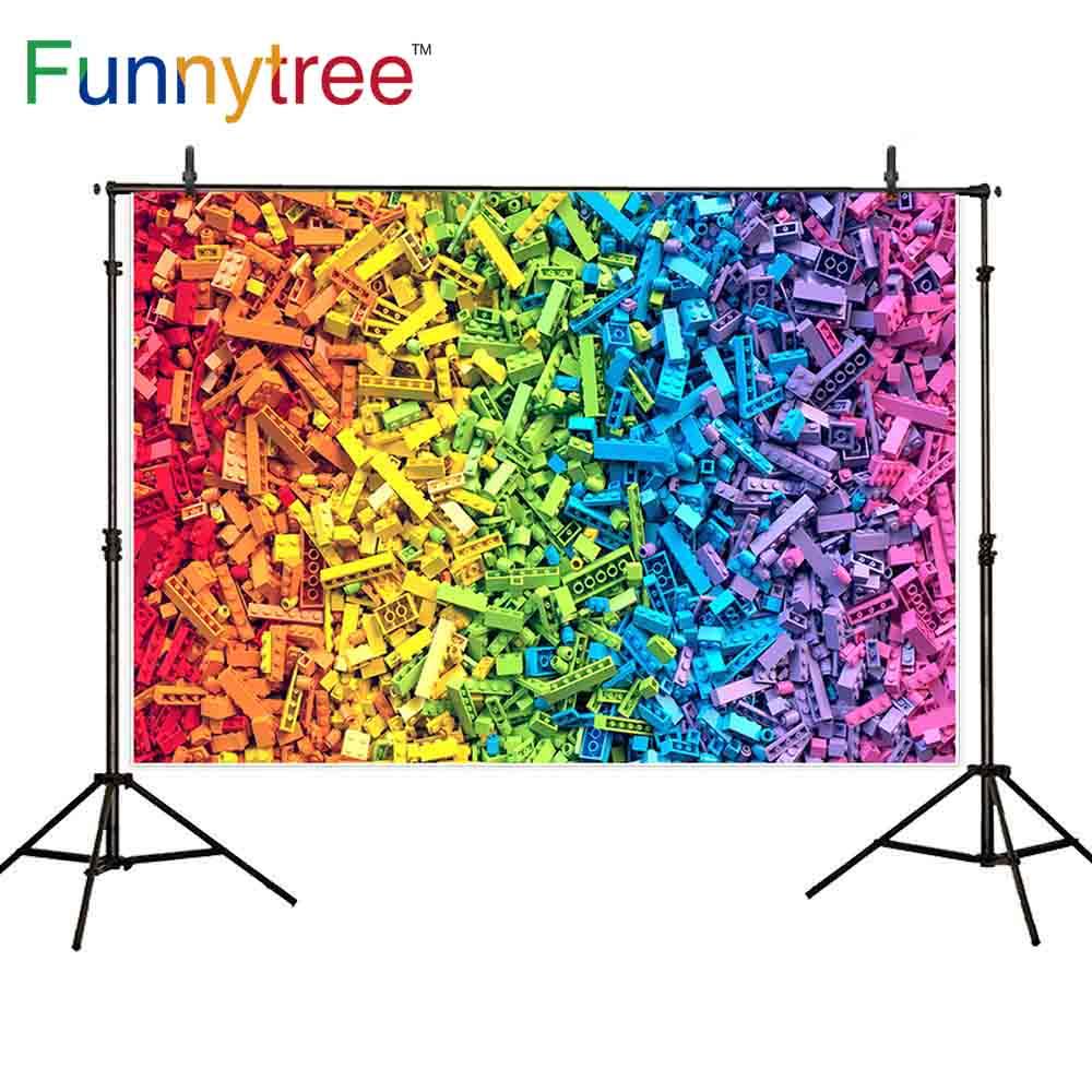Lage Prijs Funnytree Photophone Rainbow Kleurrijke Plastic Speelgoed Baksteen Model Bouwsteen Kind Verjaardagsfeestje Fotografie Foto Achtergrond Zorgvuldige Verfprocessen