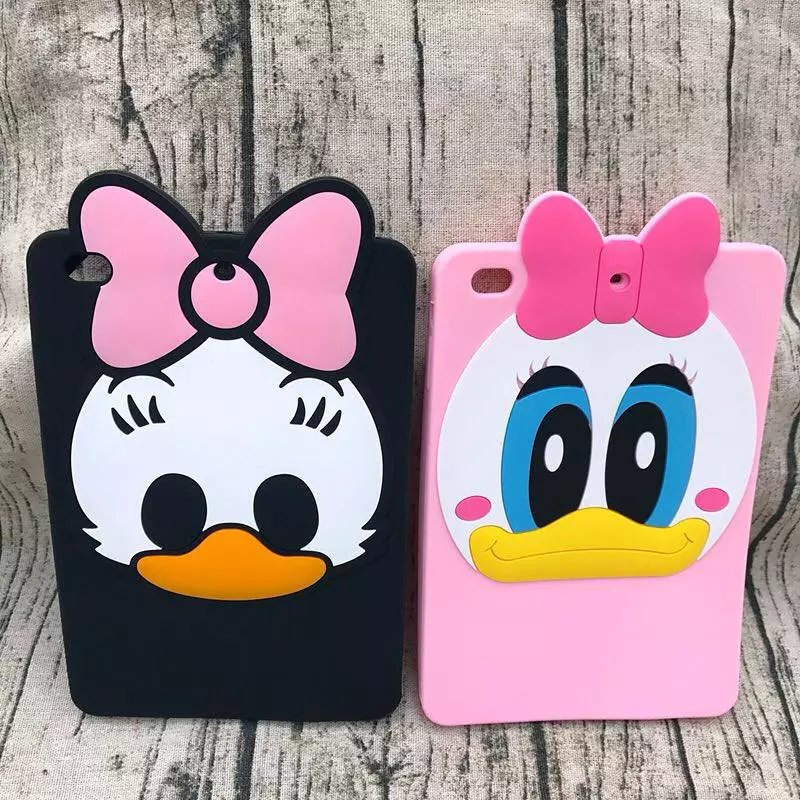 Fashion 3D Cute Cartoon Daisy Duck Soft silicone Rubber Cases Cover For Apple ipad Air 2 Ipad6 Air2 Case For Ipad 6 Coque Fundas