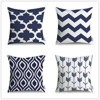 Lacivert Minder Örtüsü, Geometrik Yastık Kılıfı, Vintage Geometrik Yastık, Dekoratif Atmak Yastık Örtüsü, Tuval Yastık vaka
