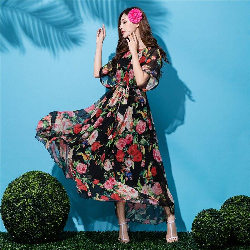 2017 Hot O-neck Black Floral Chiffon Bohemia Short-sleeve Flowy Full Dress Lightweight Beach Sundress