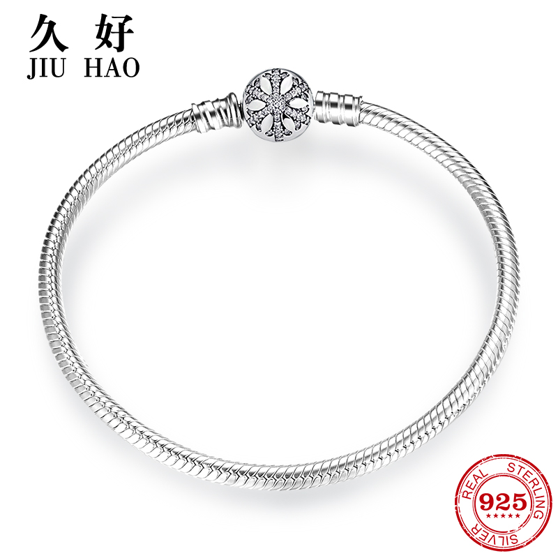 925 Sterling Silver Snowflake charms Bracelet Engrave Dazzling  Clear CZ Round Clasp Rope Chain for Women DIY JewelryCharm Bracelets