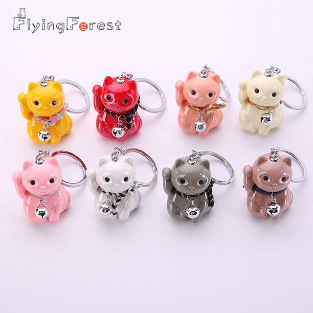 Flyingforest Cartoon 3D Lucky Cute Cat Boyfriend Christmas Gift Men Jewelry Car Keyring Animal Acrylic Red Car Keychain 2019