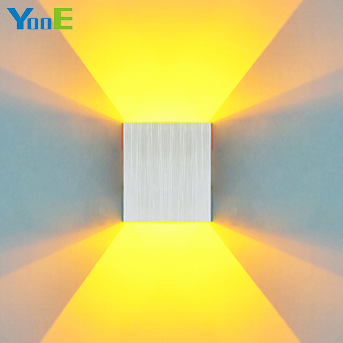 YooE 3W Indoor LED Wall Lamp Square Aluminum Wall Sconce AC110-220V Fashion Decoration Wall Light Cold/Warm White Yellow