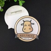 10 stücke 50*50mm tags individuelles logo runde taste abzeichen name tags pin abzeichen halter mit epoxy gesicht jede form name tags