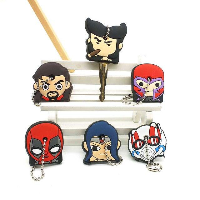 Nova The Avengers Herói Dos Desenhos Animados do Silicone Tampa Bonito do Anime Chaveiros Chave Chaveiro Mulheres Ama Crianças Tampas de Chave Titular