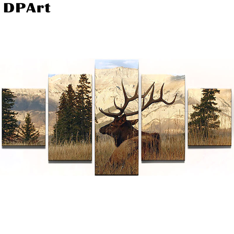 5PCS Daimond Painting Full Square/Round Drill Elk Scenery 5D Diamond Rhinestone Embroidery Cross Stitch Picture Decor Gift M146(China)