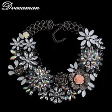 Luxury 2015 New fashion design statement choker flower bib collar necklaces high quality elegant crystal necklaces jewelry G106