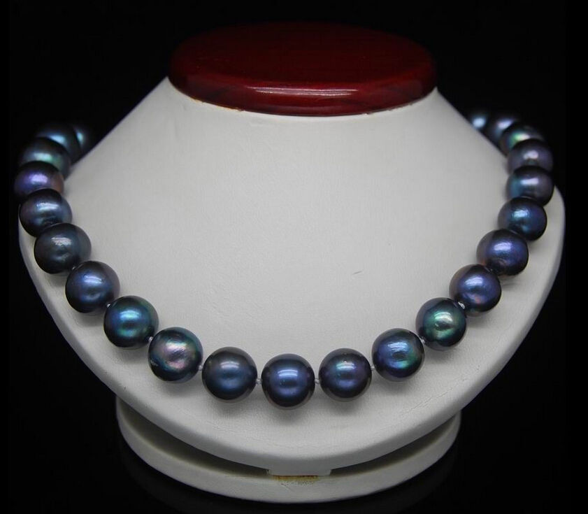 "free shipping AAAHUGE 18""10-11MM PEACOCK BLUE PEARL PEARL NECKLACE silver clasp"