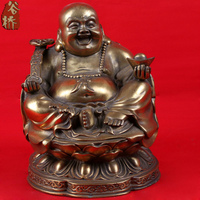 Carving Copper Laughing Buddha Crafts Buddha Maitreya Bronze Sculpture Water Carving