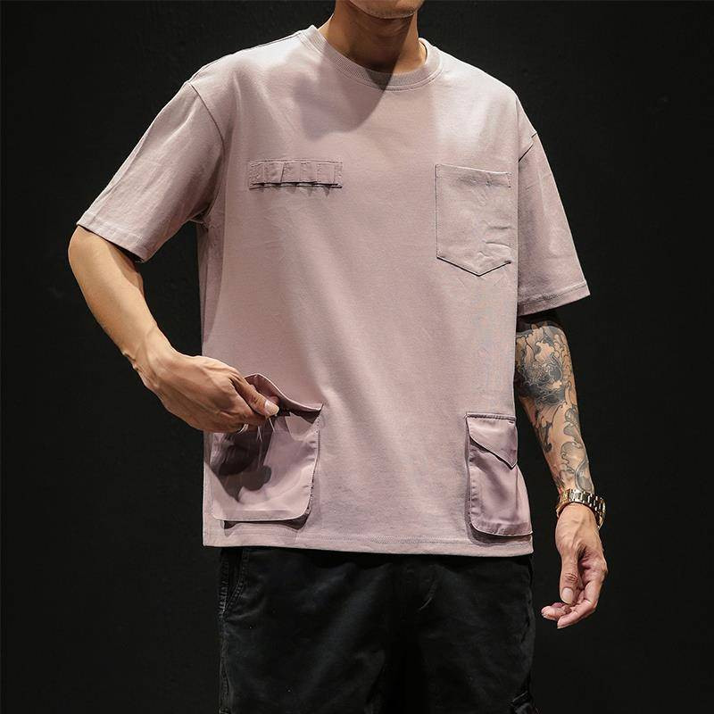 Hip Hop T-shirts Men With pockets Harajuku Oversized Tops Tee Japan Tshirt Streetwear Casual Solid High Street T Shirts Boy 32