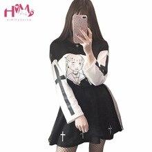 Harajuku Streetwear Pullover Women Black White Cross Nun School Girl Long Sleeves  Sweatshirts