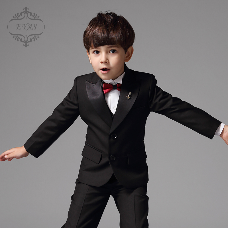 2016 Eyas Kids Clothes Style Baby Boys Clothing Little Tuxedo No Tail Black Suit Set With Vest Shirt Bowtie Ring Bearer A5107