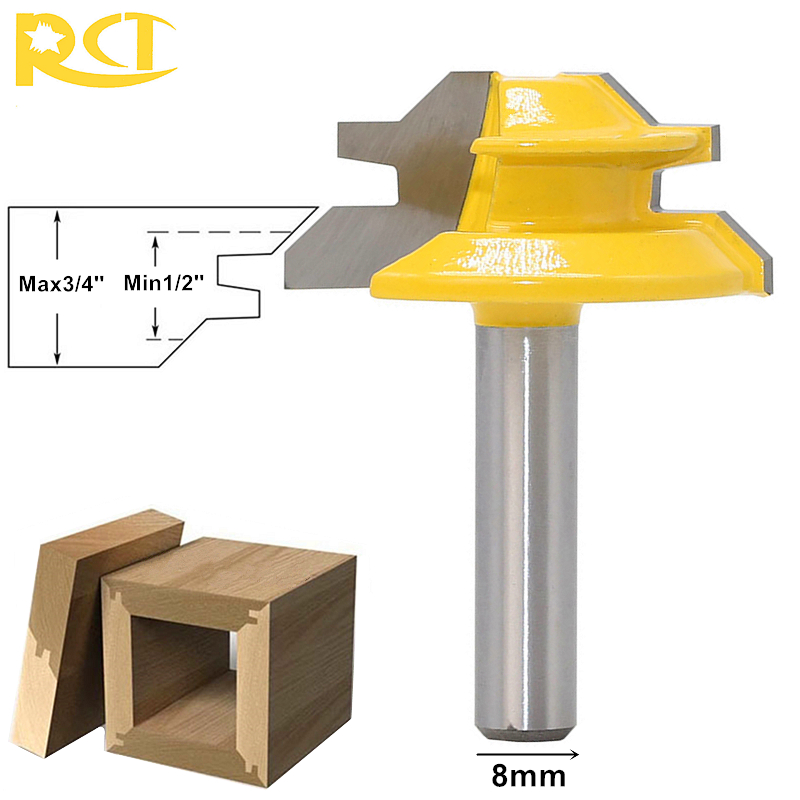 RCT 45 Degree Lock Miter Router Bit 8mm Shank Milling Cutters For Wood Carbide Cutter Carpenter Woodworking Tools