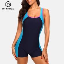 купить Attraco One Piece Women Sports Swimwear Sports Swimsuit Colorblock Swimwear Open Back Beach Wear Sports Bathing Suits дешево