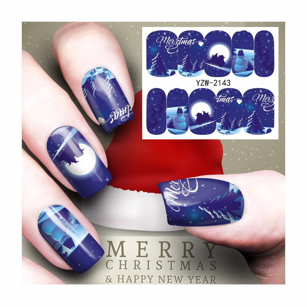 ZKO 1 Sheet Christmas Nail Sticker Water Adhesive Foil Nail Art Decorations Tool Water Decals 3D Design Nail Sticker Makeup 2143 water sticker for nails art all decorations sliders merry christmas deer adhesive nail design decals manicure lacquer foil