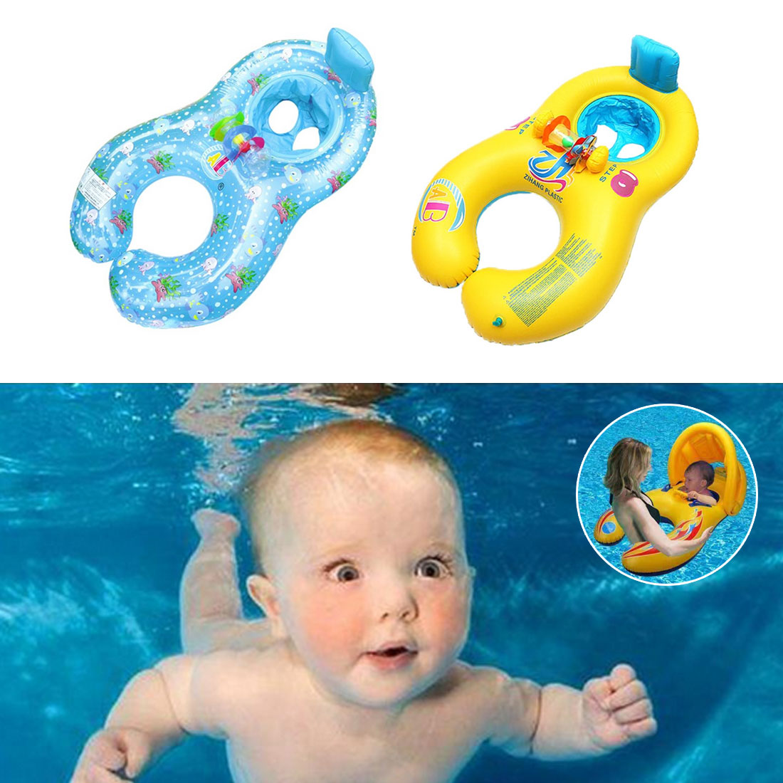 Outdoor Swimming Float Ring Baby Mother And Child Inflatable Swimming Ring Circle Double Seat Raft Swim Ring Aid Rings