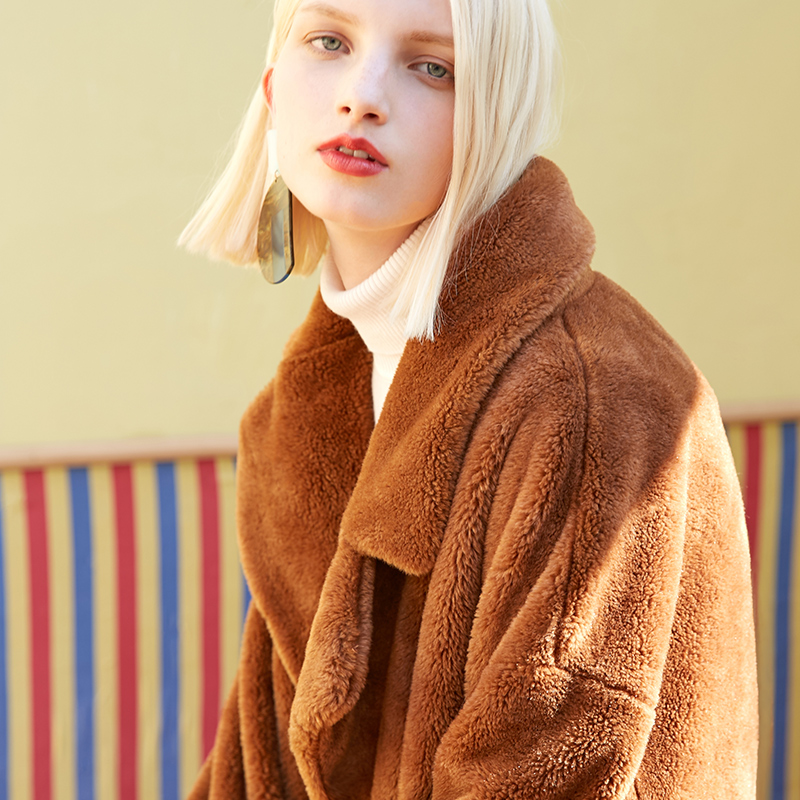 Vero Moda lapel drop shoulder long teddy bear winter coat jacket | 318309503 13