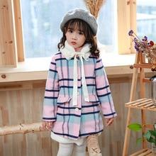 Girls Coat New 2017 Fashion Thickening Outerwear & Coats Girls lattice Jacket   Kids Jacket Hooded Girls Winter Jacket 3-8Y