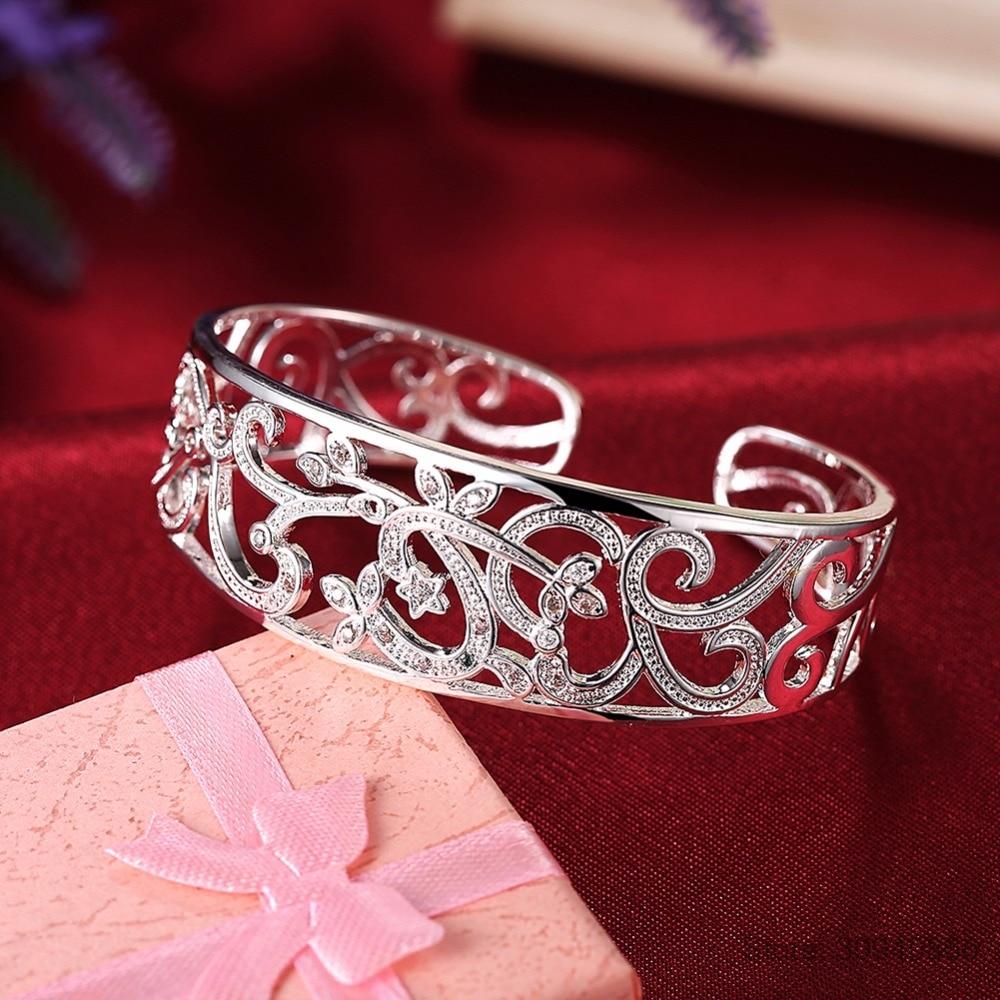 HTB16yFdeRCw3KVjSZFuq6AAOpXam LEKANI 925 Sterling Silver Hollow Branch Bracelets & Bangles For Women High Quality Elegant Lady Gift 925 Silver Fine jewelry