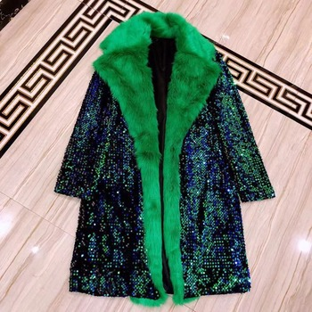 Bling Blue Green Full Sequins Men's Jacket Nightclub Men Singer Show Costume Bar Party Celebrate Outfit Luxury Male Coats