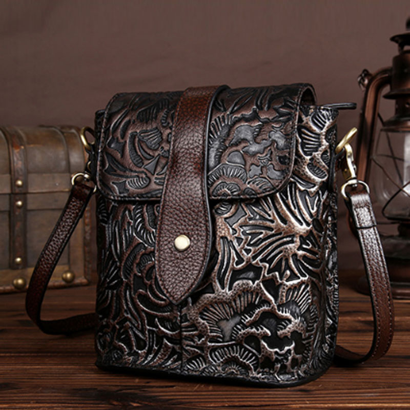 BULLCAPTAIN High Quality Genuine Leather Vintage Women Messenger Shoulder Bag Ladies Floral Cross Body Bags Brand Mini Tote bullcaptain high quality genuine leather vintage women messenger shoulder bag ladies floral cross body bags brand mini tote