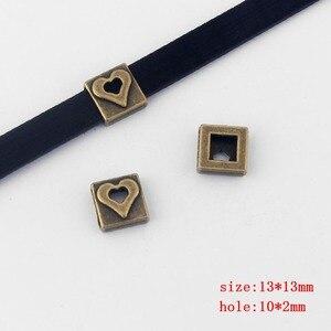 10 шт. квадратный плоский ползунок для браслета 10 мм 13 мм плоский кожаный шнур аксессуары для ювелирных изделий Bijoux