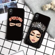 حافظة إسلامية إسلامية على شكل عيون حجاب عربي للبنات لهاتف آيفون 11 برو XS Max XR X SE 2020 8 7 7Plus 6 6S Plus 5 5s