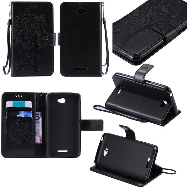 "Flip Case For Sony Xperia E4 E2105 DTV E2124 E2104 Embossed Leather Wallet Case For 5"" Coque Sony E4 E2114 E2115 Fundas E4 Bag"