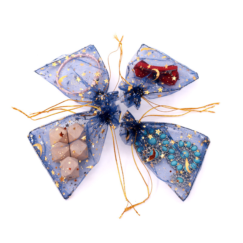 100pcs Royal Blue Organza Gift Bags 7x9cm Hot Stamping Organza Wedding Party Favor Gift Bag Jewelry Packaging Pouches Earring (3)