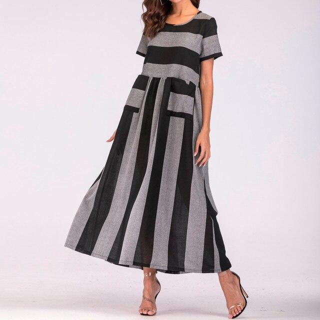 47f87c301b6 Femmes coton lin robes d été rayé longue Bohe robe caftan 2018 été rayé  tenue