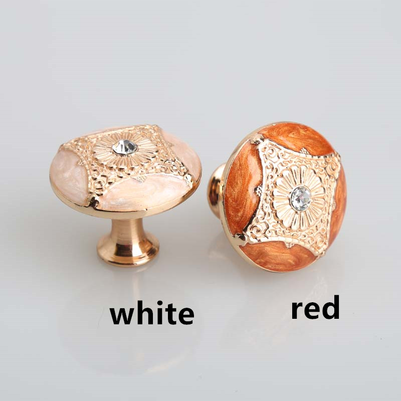 Kitchen cabinet pulls handles Rose gold drawer knobs red white amber dresser handle glass diamond modern furniture knobs handles